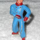 Barclay - Boy Ice Skater - Blue & Red - Lead - Original Paint - Vintage