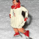 Barclay - Girl Ice Skater - White & Red - Lead - Original Paint - Vintage