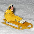 Barclay - Girl On Sled - Yellow & White - One Sled Rail Missing - Lead - Original Paint - Vintage