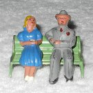 Barclay - Man And Woman On Park Bench - Grey Suit - Blue Dress - Lead - Original Paint - Vintage