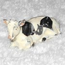 Britains Ltd - Cow Calf Resting - Black And White - Lead - Original Paint - Vintage