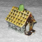 Putz - Porcelain Cottage House - Grey Stone Walls - Yellow Roof - Green Chimney - Japan - Vintage