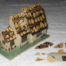 Putz - Cardboard Cottage House - 3 Gabled Sections - Grey - Printed Details - Damaged - Vintage
