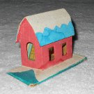 Putz - Cardboard House - Cellophane Windows - Red White & Blue - Glitter - Japan - Vintage