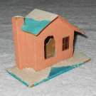 Putz - Cardboard House w/ Chimney - Pink White & Blue - Glitter - Japan - Vintage