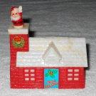 Fun World - Christmas House Bank w/ Pop Up Santa Claus Chimney - Red & White - Plastic - Vintage