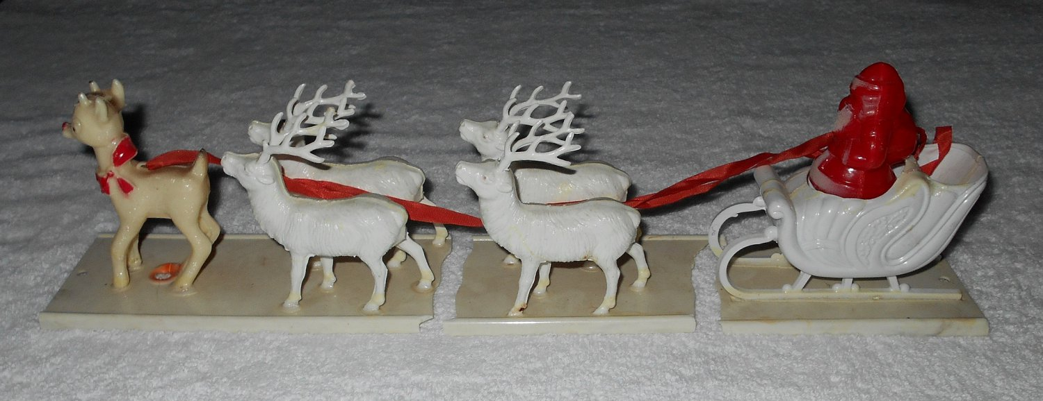 Santa Claus In Sleigh With Four Reindeer & Rudolph - White & Red - Hard Plastic - Vintage
