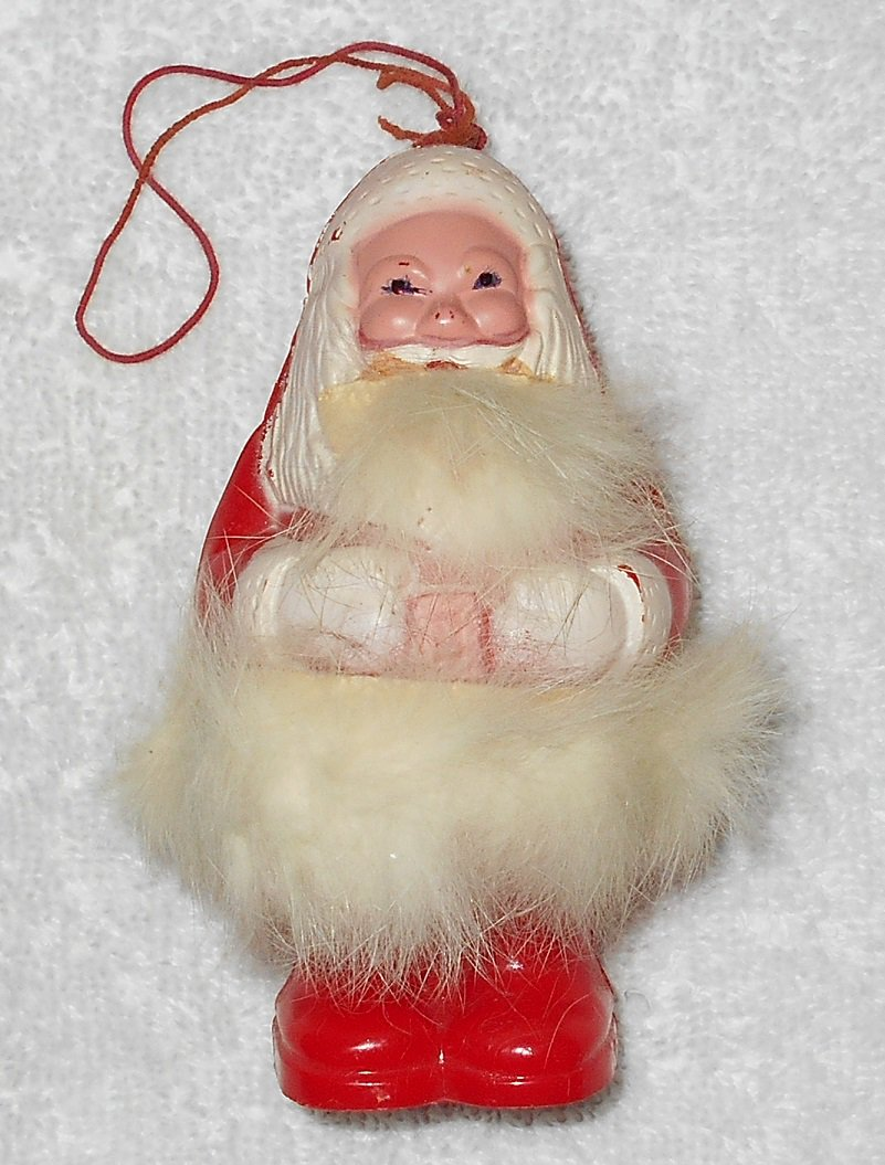 Santa Claus - Christmas Ornament Rattle - Fur Beard & Waist Band - Red & White - Plastic - Vintage