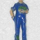 Bergen Toy & Novelty - Blue Farmer With Shovel - Plastic - USA - Vintage