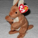 Ty Beanie Baby - Pouch - Kangaroo With Joey - 4161 - Tags Attached - 1996 - Vintage