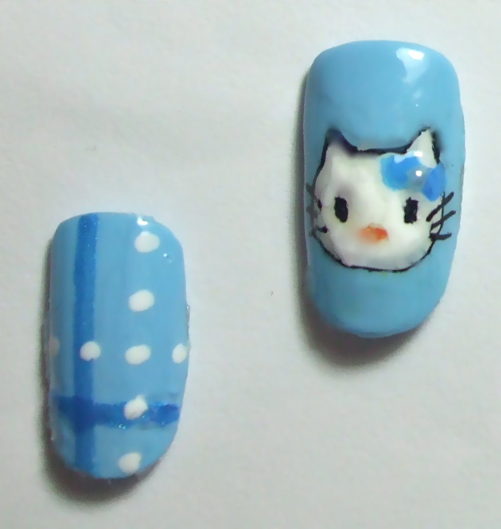 Hello Kitty Nails in Soft Blue Sky