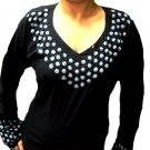 Black cotton long sleeve tunics with V- neck embroidery