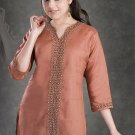 Brown cotton shirts in 3/4 th Sleeve Tunic Top