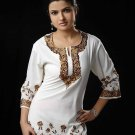 Embroidered Designer Moderate white tunic/ top/Kurtis