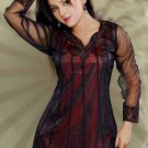 Black Georgette fabrics with Long length sleeve Tunic/top