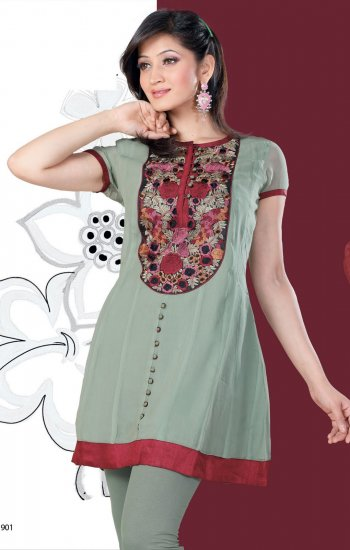 Multi Color Embroidered Georgette fabric with cab sleeve Tunic/top