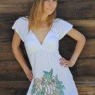Ladies V-Neck white cotton Tunic /Top / blouse