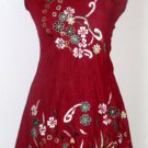Summer Cotton Tunic Red Color Flower Embroidered Dress