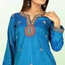 Ladies Blue Color Silk Cotton Full Embroidered Tunic Top