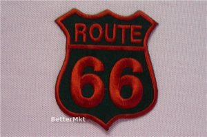 RED ROUTE 66 Highway LOGO EMBROIDERE�D  Sew Iron on Patch