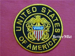 United States of America USA  Circle Round Embroidered Sewing Iron on Patch