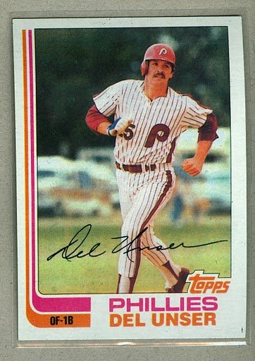 1982 Topps Baseball #713 Del Unser Phillies Pack Fresh