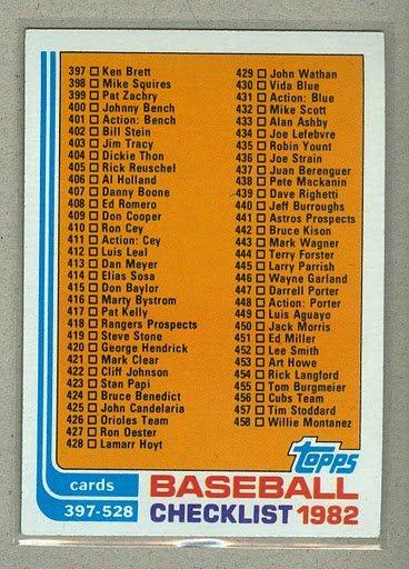 1982 Topps Baseball #491 Checklist 397-528 Pack Fresh
