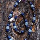 Blue speckled necklace and bracelet
