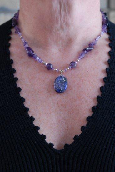 Purple Quartz pendant with violet opal swarovski necklace
