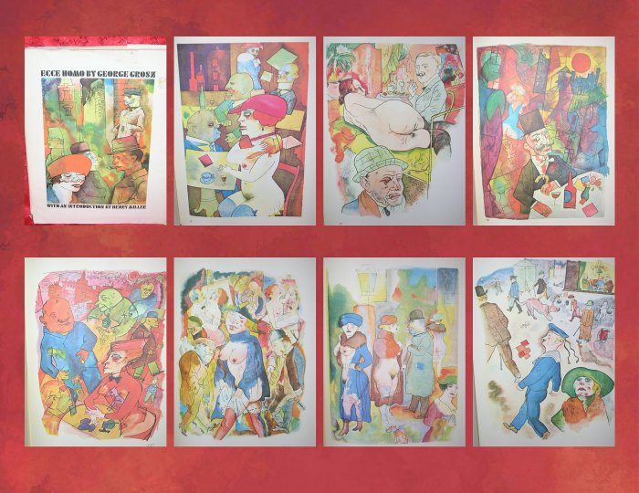 1966 Ecce Homo George Grosz Watercolors Drawings Book 1st FIRST US EDITION 100 Full-Page Plates