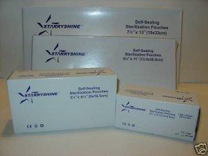 "200 STARRYSHINE DENTAL TATTOO STERILIZATION POUCHES - 2.75"" x 10"""