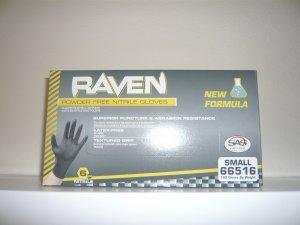 Raven Black Nitrile Powder Free Gloves - (Size S)