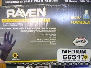 1000 Raven Black Nitrile Powder Free Gloves - (Size M)