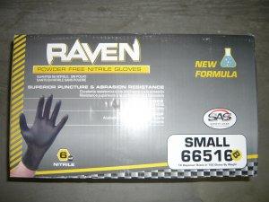 1000 Raven Black Nitrile Powder Free Gloves - (Size S)