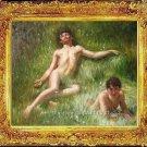 ART OIL ON CANVAS-Henry Scott Tuke-The Sunbathers-1927