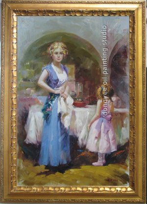 """ART SALE OIL PAINTING mothers-love FIGURES Signed 36"""""""