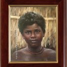 FREE SHIPPING OIL ON CANVAS AFRICAN black eyes boy ART