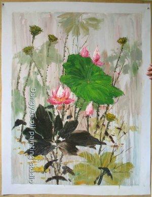 ART ORIGINAL OIL PAINTING SIGNED water lily Series N/R