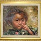 Art Original Oil Painting-Nepalese Children Little Girl