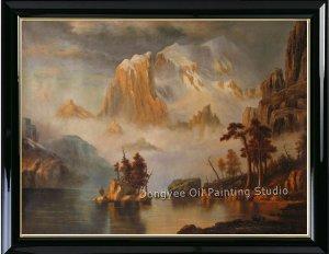 Oil Painting-REPRO Albert Bierstadt-Rocky Mountains-Art