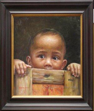 Children Waiting At The Door Art Original Oil Painting