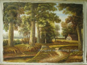 ART 100%hand  oil painting landscape a path