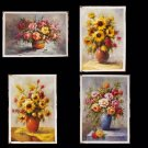 Wholesale lot 4PCS oil paintings-Flower-Painted 24x36""