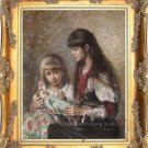 OLD MASTER OIL PAINTINGS-Alexej Harlamoff-Sisters girls