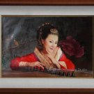 Original Oil Painting Oriental Lady Beauty Zither Girl