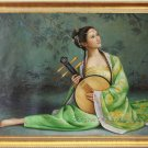 Art Ancient Lady Playing Lute Original Oil Painting