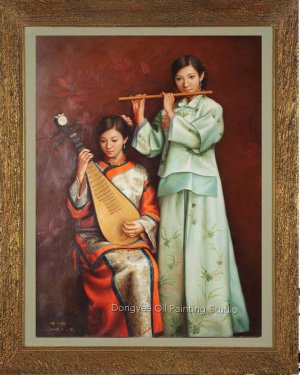 Oriental Ancient Musical Ladys Original Oil Painting