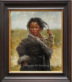 Original Oil Painting Tibetan Young Girl Shepherdess