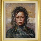 Tibetan Nomad Girl In The Sun Original Oil Painting