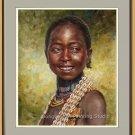 Original Oil Painting Portrait Of Ethiopia Hamer Girl